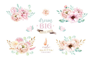 Isolated cute watercolor bouquets clipart with flowers. Nursery unicorns illustration. Princess rainbow poster. bouquet trendy pink color.