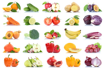 Wall Mural - Fruit many fruits and vegetables collection isolated apple oranges onion tomatoes colors