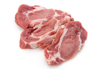Meat pork slices isolated on the white background.