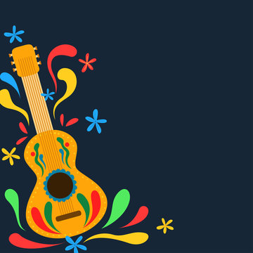 Blank banner with guitar in mexican style decorations