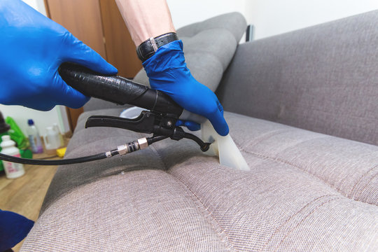 Cleaning service. Man janitor in gloves and uniform vacuum clean sofa with professional equipment