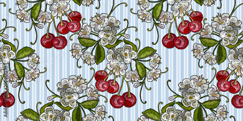 Template For Clothes Textiles T Shirt Design Vector Embroidery Cherry Blossom Tree