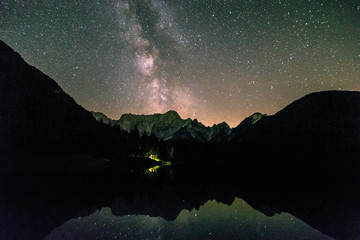 Milky way at the lake of Fusine, Italy