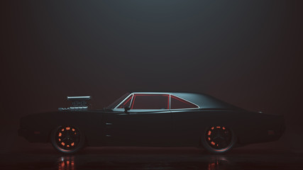 Powerful Black 1969 Muscle Car 3d illustration