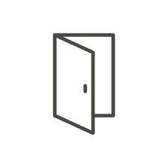 Open door icon vector. Outline entry. Line door symbol.