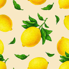 Illustration of beautiful yellow lemon fruits on a branch with green leaves on an orange background. Watercolor drawing seamless pattern for design