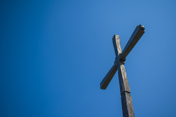 Orthodox crosses against the sky