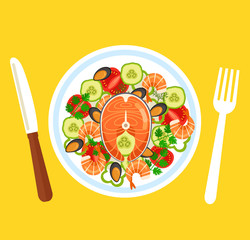 Fresh salad with red fish salmon shrimp mussels and vegetables. Sea food top view concept. Vector flat graphic design isolated icon element illustration