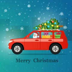 Red SUV with santa claus, christmas tree and gift boxes. Vector flat style illustration.