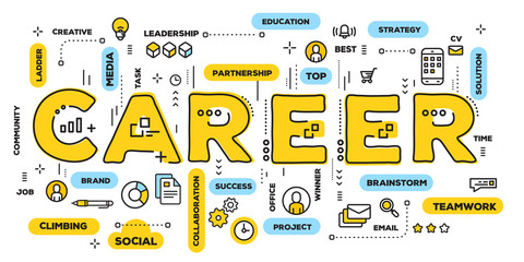 Vector creative illustration of career yellow word lettering typography with line icons and tag cloud on white background. Career growth concept.