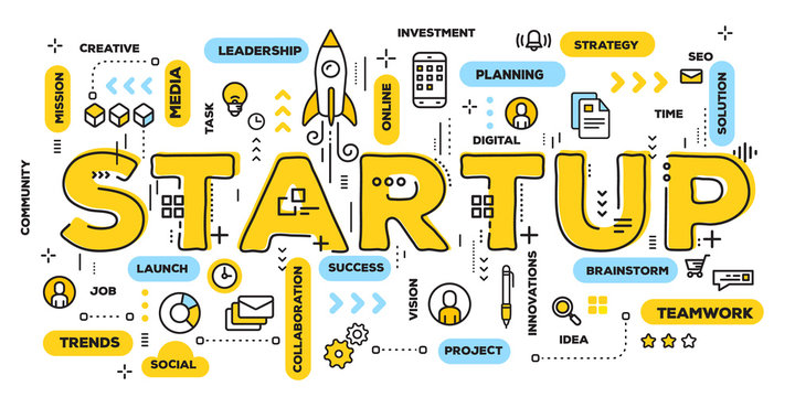 Vector creative illustration of business startup yellow word lettering typography with line icons and tag cloud on white background. Startup technology concept.