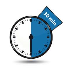 Timer 30 Minuten - Vektor Illustration - Freigestellt auf weißem Hintergrund