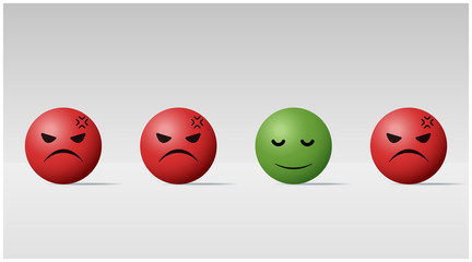 Emotional background with calm face ball among angry face balls , vector , illustration