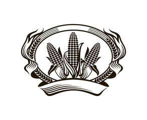 black farm corn vegetable emblem