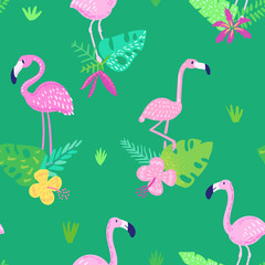 Tropical Seamless Pattern with Cute Flamingo and Exotic Flowers. Childish Summer Background for Wallpaper, Fabric, Wrapping Paper, Decoration. Vector illustration