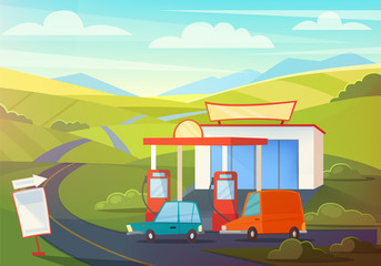 Summer Rural Landscape Scene with Gas Station, Hills and Sky. Oil, Petrol Fueling with Cartoon Cars. Vector illustration