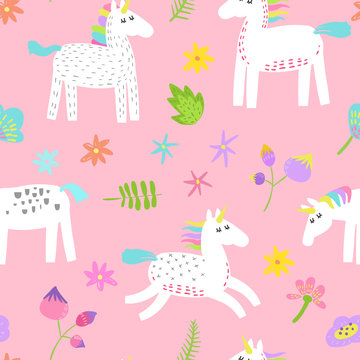 Seamless Pattern with Magic Unicorns and Tropical Flowers