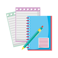 notebook and note paper with pen tools