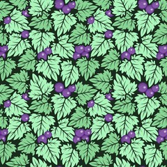 Leaf with Grape Seamless Pattern