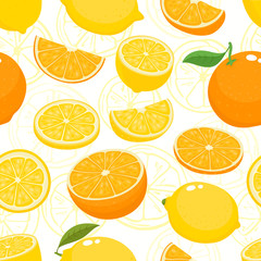 Vector seamless pattern with lemons and oranges isolated on white.