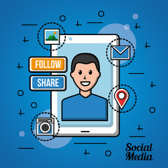 people social media phone with a men share photo follow red camera vector illustration