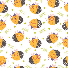 Seamless funny bee pattern. Vector illustration