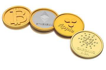 3D Render of substitutes of four of the cryptocurrencies with the highest market capitalization: l.t.r. Bitcoin, Ethereum, Ripple, Ada (by Cardano) lying on a reflecting white surface