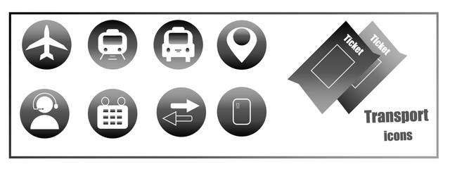 Neutral gray icons. icons for buying tickets for transport online. Icons for web sites and mobile applications