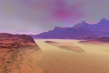 Rocks and mist, a martian landscape, desert, mountains and a cloudy sky.
