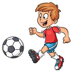 Junge mit Fußball - Vektor-Illustration
