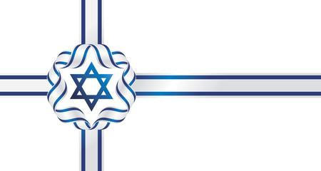 Israel flag ribbon isolated symbol emblem gift bow white background