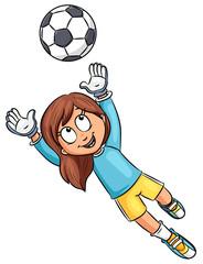 Mädchen mit Fußball - Vektor-Illustration