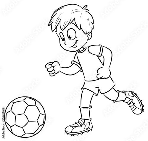 Junge Mit Fussball Vektor Illustration Stockfotos Und
