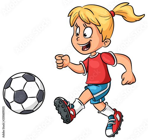 Madchen Mit Fussball Vektor Illustration Stock Image And