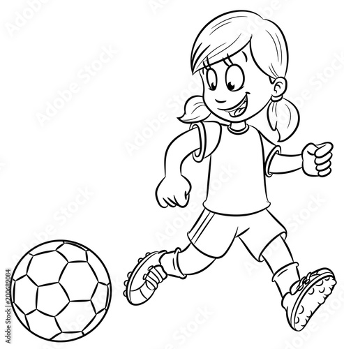 Madchen Mit Fussball Vektor Illustration Stockfotos Und