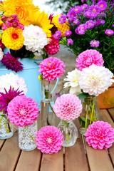 Dahlien - Blumenstrauß  - Grußkarte