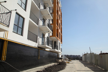 Construction of a residential multi-storey building. New residential area. Building  stock image