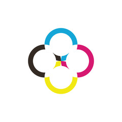 rotary C letter with cmyk color logo