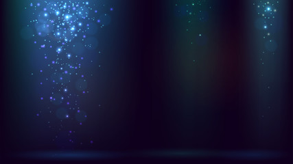 Dark blue background with rays of light and falling spangles or snow, shimmering dust