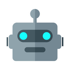 Simple, flat robot head icon. Isolated on white