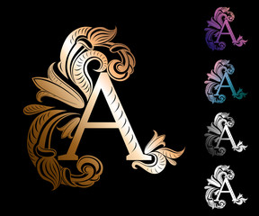 letter A, decorated with vintage, elegant flowers and leaves with streaks (symbol, sign, logo) in gold, silver and other colors
