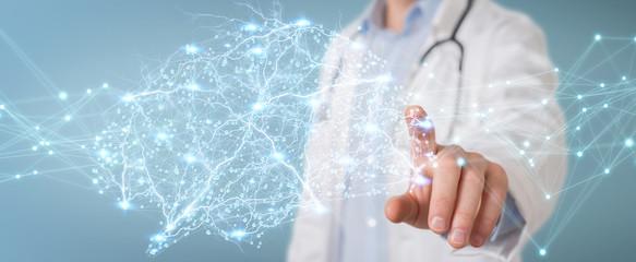 Doctor holding digital brain interface 3D rendering