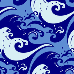 japanese seamless pattern with ocean waves