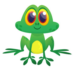 Funny green frog  character in cartoon style. Vector illustration. Design for print, children book illustration or party decoration