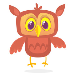 Happy cartoon owl. Vector character isolated