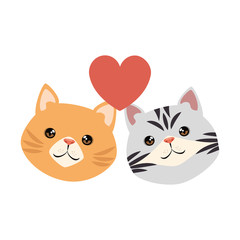 cute cats mascots head with hearts characters vector illustration design