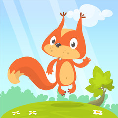 Cute cartoon squirrel in playful mood standing on a stump in the meadow with green grass and forest backgrund. Vector illustration isolated