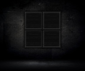 3D grunge interior with metal grates on brick wall