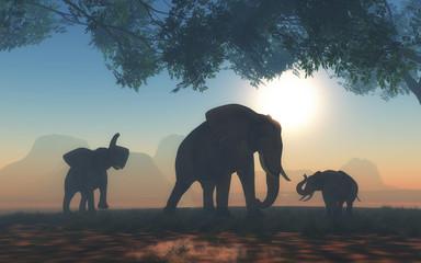 3D landscape with herd of elephants