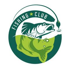 Fishing. Stylish fishin club logo. Vector illustration.